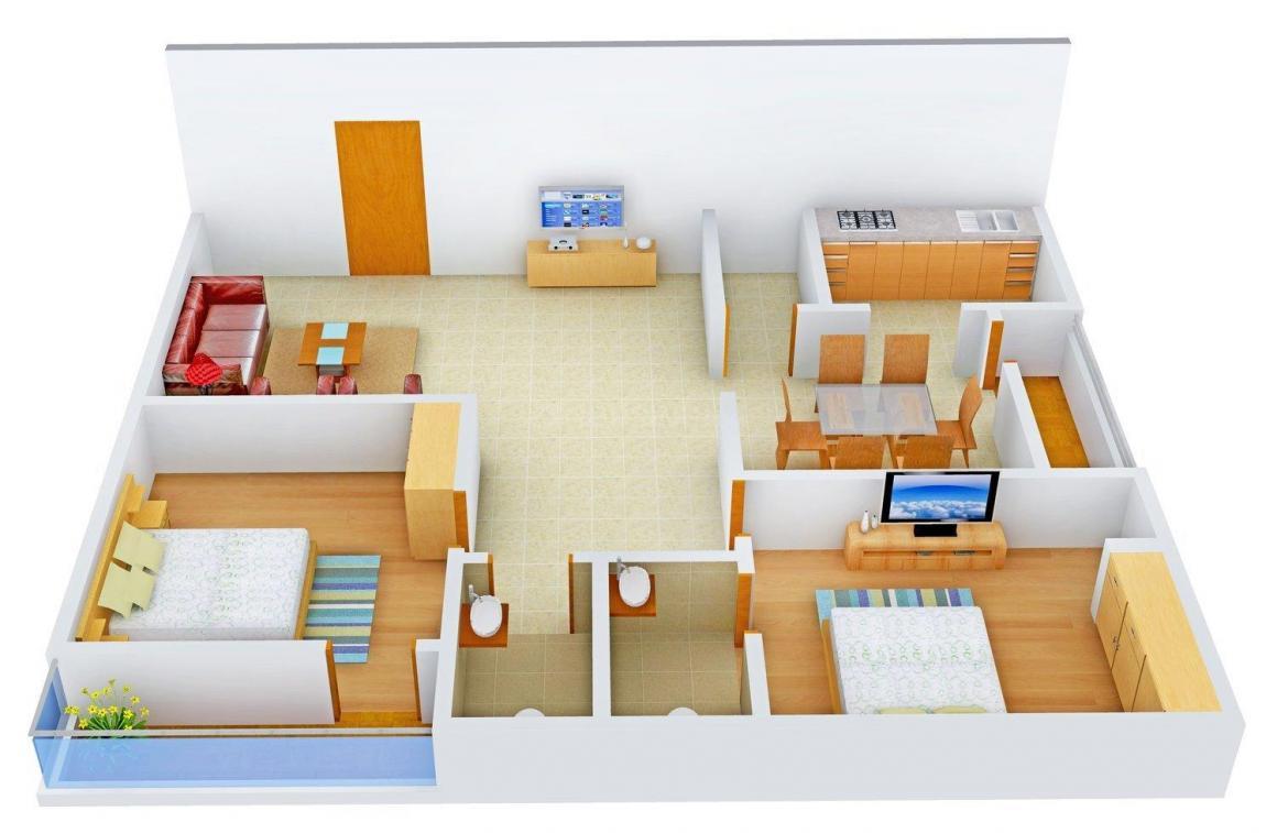Progressive Avenues Sri Visveswara Residency Floor Plan: 2 BHK Unit with Built up area of 1176 sq.ft 1