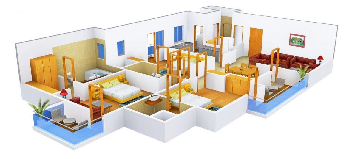 3C Lotus Boulevard Espacia Floor Plan: 3 BHK Unit with Built up area of 1970 sq.ft 1