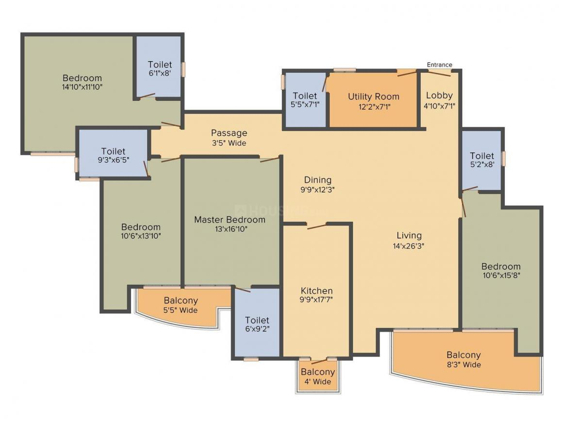 Floor Plan Image of 2858.0 - 4098.0 Sq.ft 4 BHK Apartment for buy in DLF The Belaire