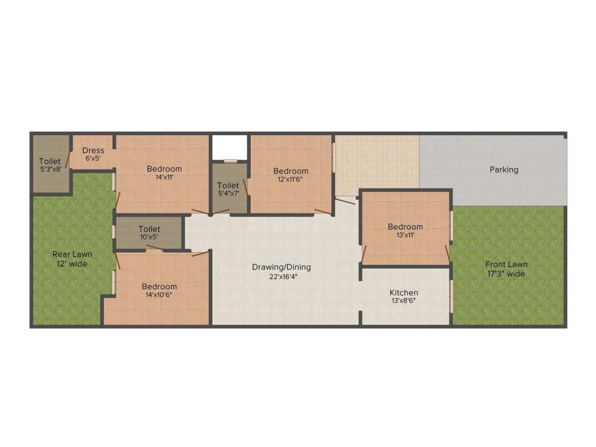 Sharma Builder Floor-5 Floor Plan: 4 BHK Unit with Built up area of 1235 sq.ft 1