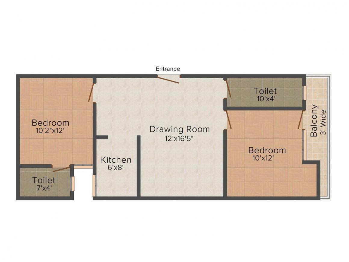 Maa Durga Tower Floor Plan: 2 BHK Unit with Built up area of 720 sq.ft 1