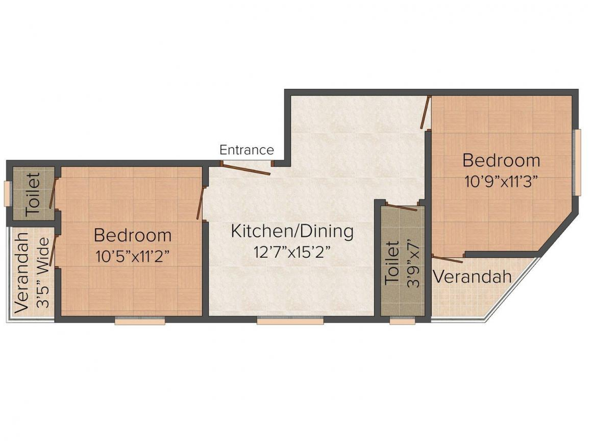 Floor Plan Image of 0 - 936 Sq.ft 2 BHK Apartment for buy in Polynova Boral Lake Pally