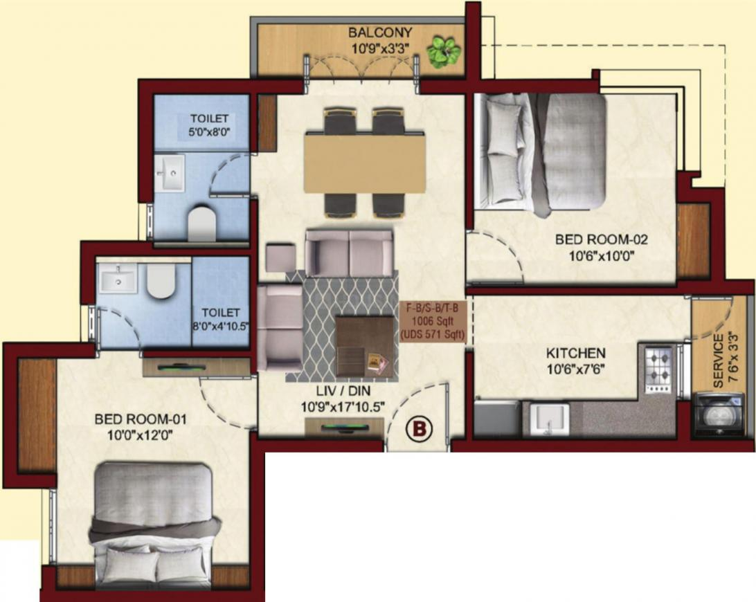 VGN Derbyshire Floor Plan: 2 BHK Unit with Built up area of 1006 sq.ft 1
