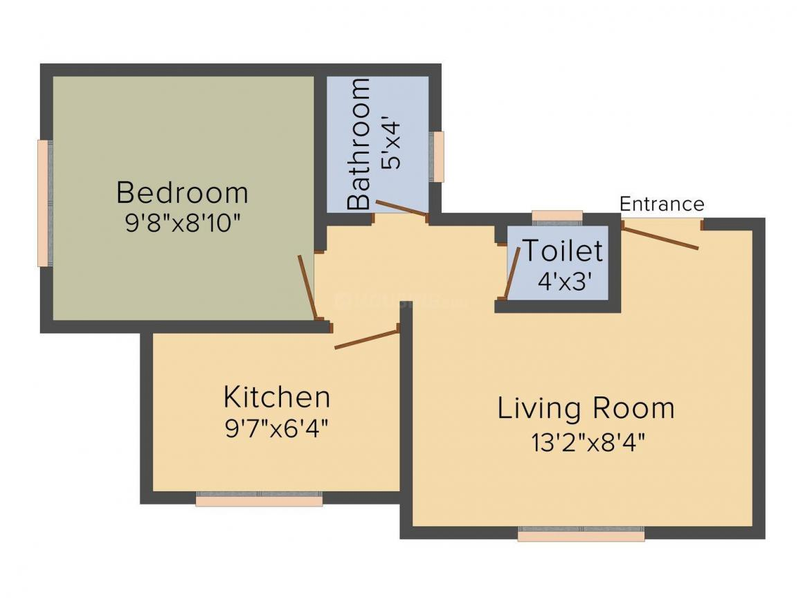 Floor Plan Image of 470 - 550 Sq.ft 1 BHK Apartment for buy in Omkareshwar Apartment