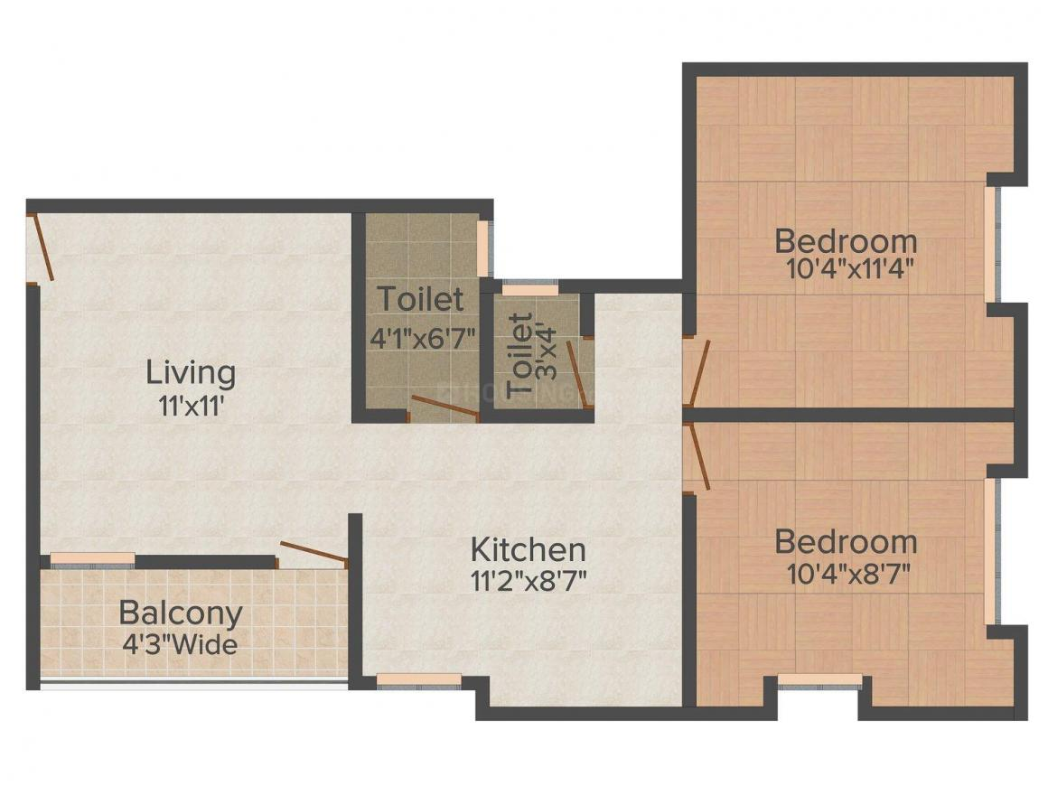 Floor Plan Image of 0 - 740.0 Sq.ft 2 BHK Apartment for buy in Chintamani Gulmohar