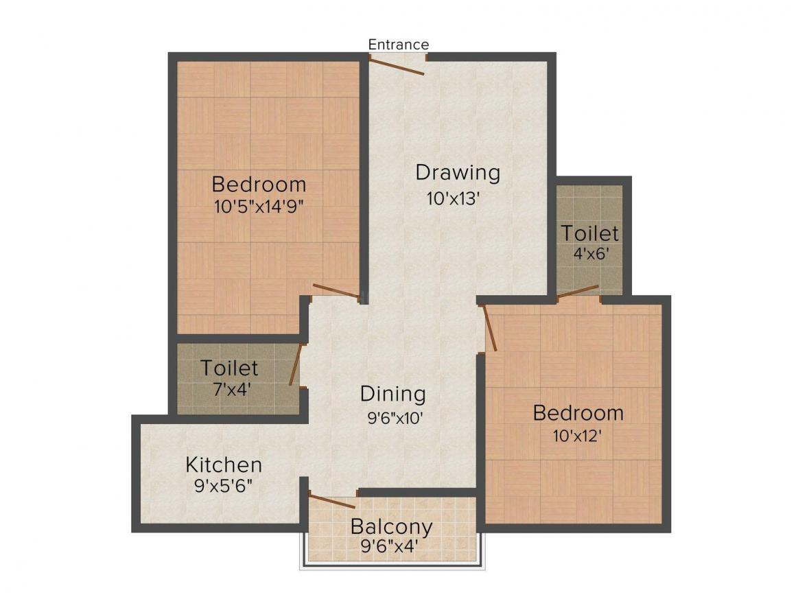 Agrani Diffodil City (Township) Floor Plan: 2 BHK Unit with Built up area of 880 sq.ft 1