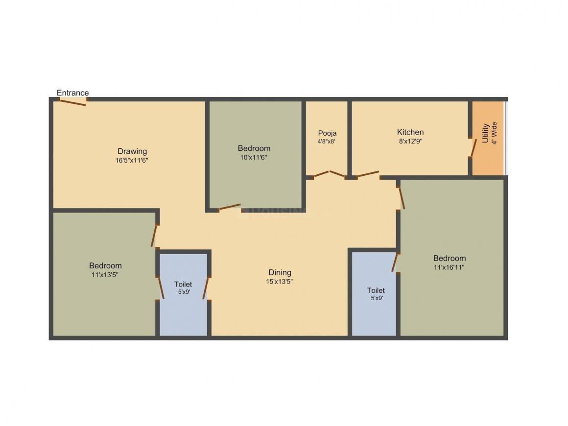 Legend Venkatesa Floor Plan: 3 BHK Unit with Built up area of 1560 sq.ft 1