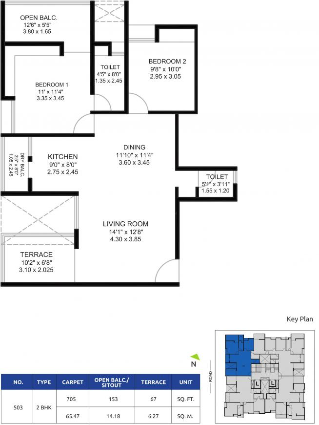 Gokhale Krishnanayan Floor Plan: 2 BHK Unit with Built up area of 705 sq.ft 1