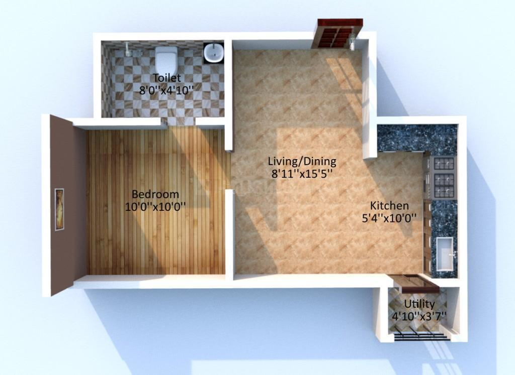 KG Centre Point Ph 1 And 2 Floor Plan: 1 BHK Unit with Built up area of 515 sq.ft 1