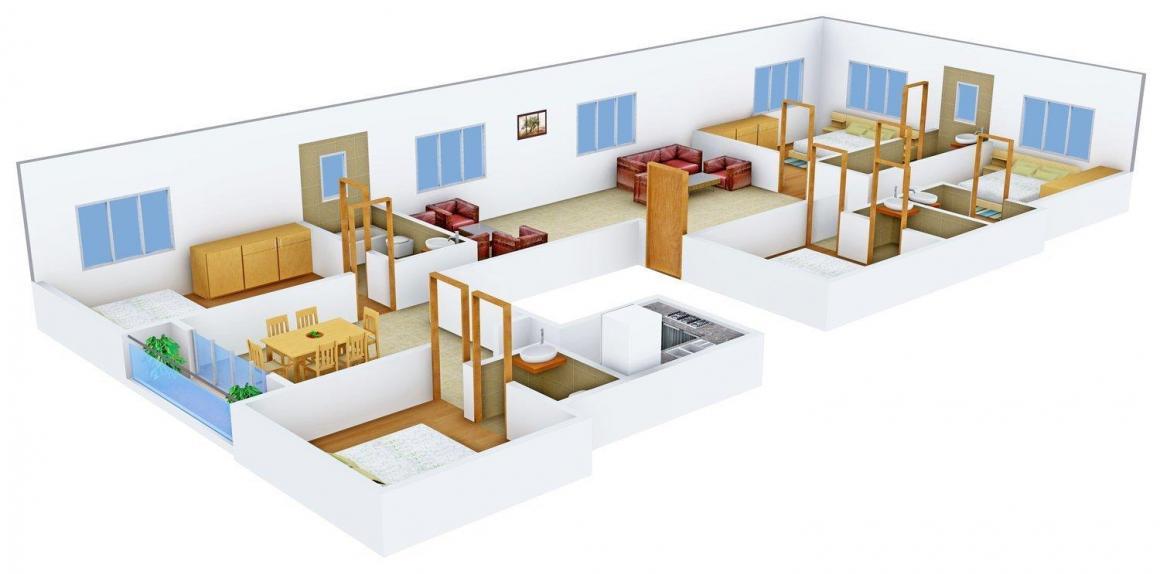 Floor Plan Image of 1480.0 - 2960.0 Sq.ft 3 BHK Apartment for buy in Happy Happy Regency