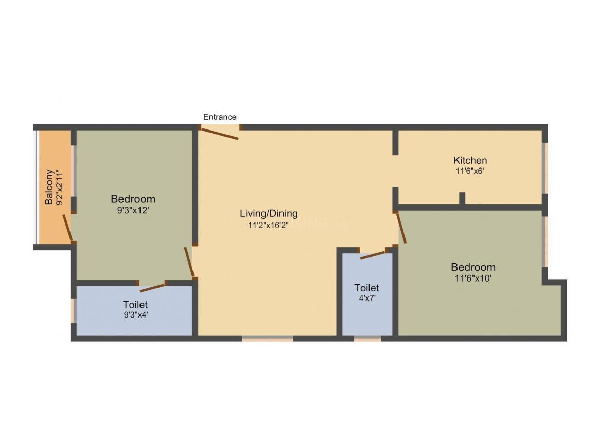 Galaxy Blossom Floor Plan: 2 BHK Unit with Built up area of 856 sq.ft 1
