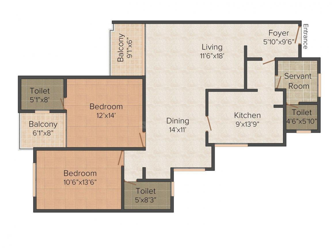 Floor Plan Image of 1590 - 2155 Sq.ft 2 BHK Apartment for buy in Mohtisham Ivory Towers