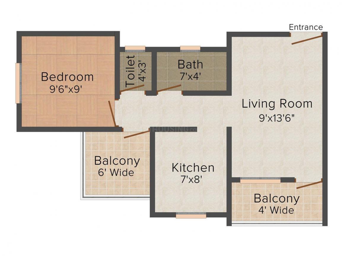 Floor Plan Image of 580.0 - 855.0 Sq.ft 1 BHK Apartment for buy in Avdhoot Residency