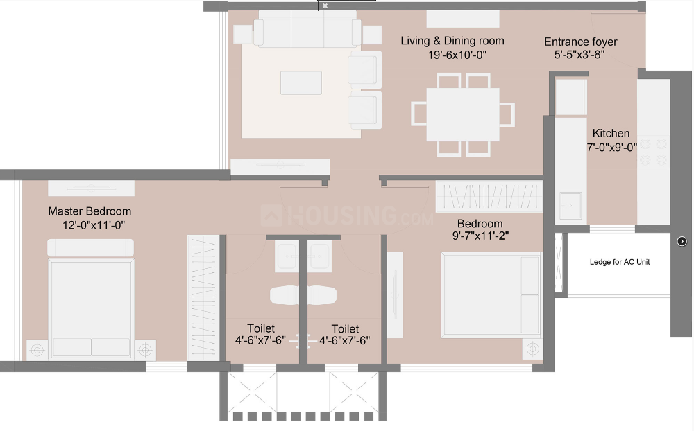 Sunteck City 4th Avenue Floor Plan: 2 BHK Unit with Built up area of 646 sq.ft 1