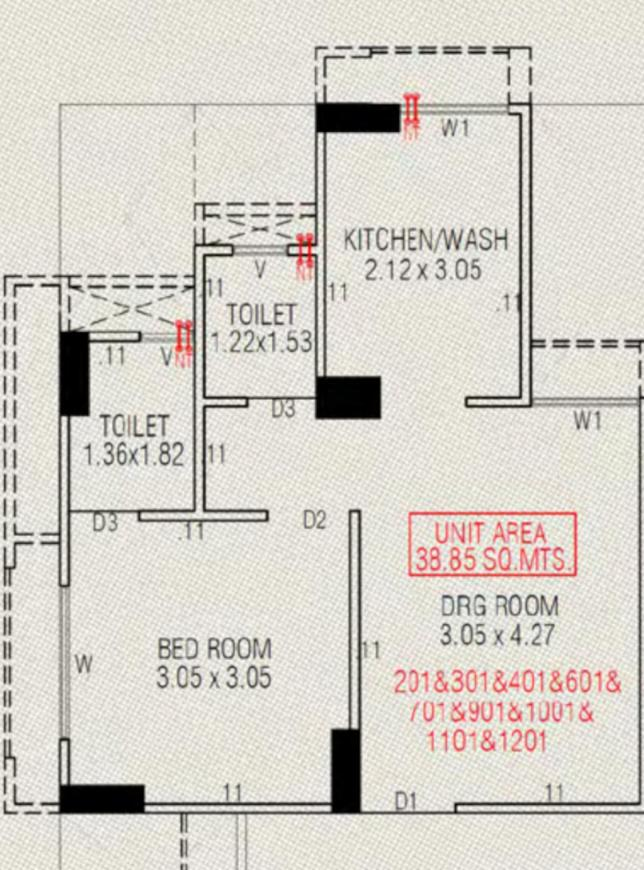RRG HR Evernest Floor Plan: 1 BHK Unit with Built up area of 383 sq.ft 1