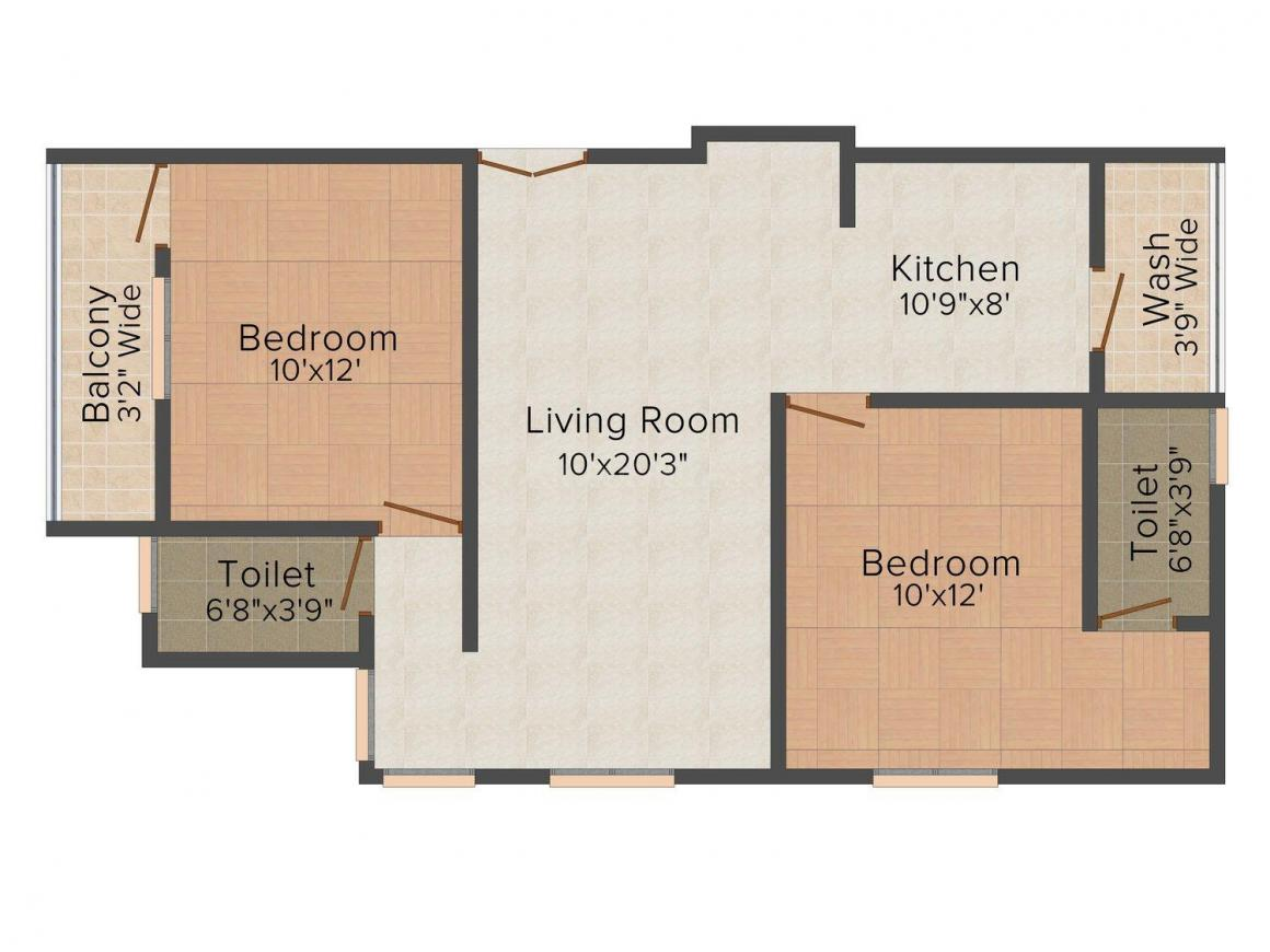 Floor Plan Image of 654.0 - 1214.0 Sq.ft 2 BHK Apartment for buy in Alekhya Aashray