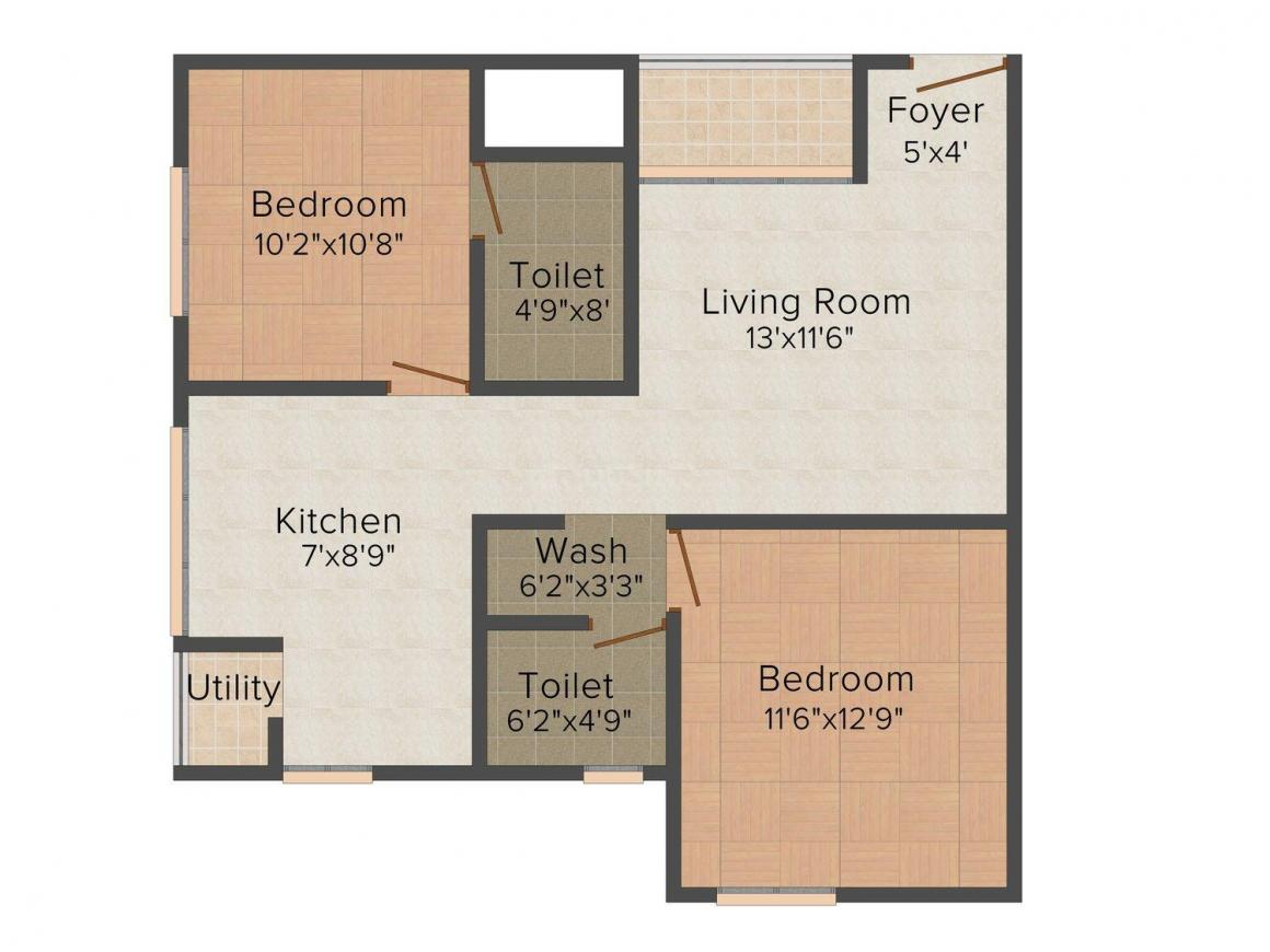 Floor Plan Image of 1022 - 1518 Sq.ft 2 BHK Apartment for buy in Mahaghar Nest