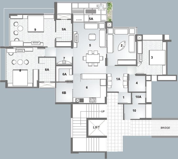 Nishant Ratnaakar III Floor Plan: 3 BHK Unit with Built up area of 2610 sq.ft 1