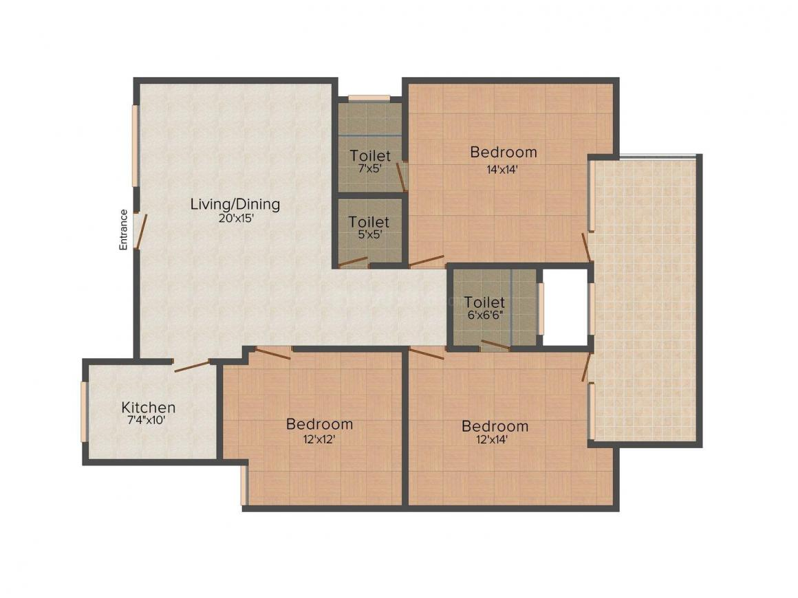 Gallon Pretty Day Floor Plan: 3 BHK Unit with Built up area of 1550 sq.ft 1