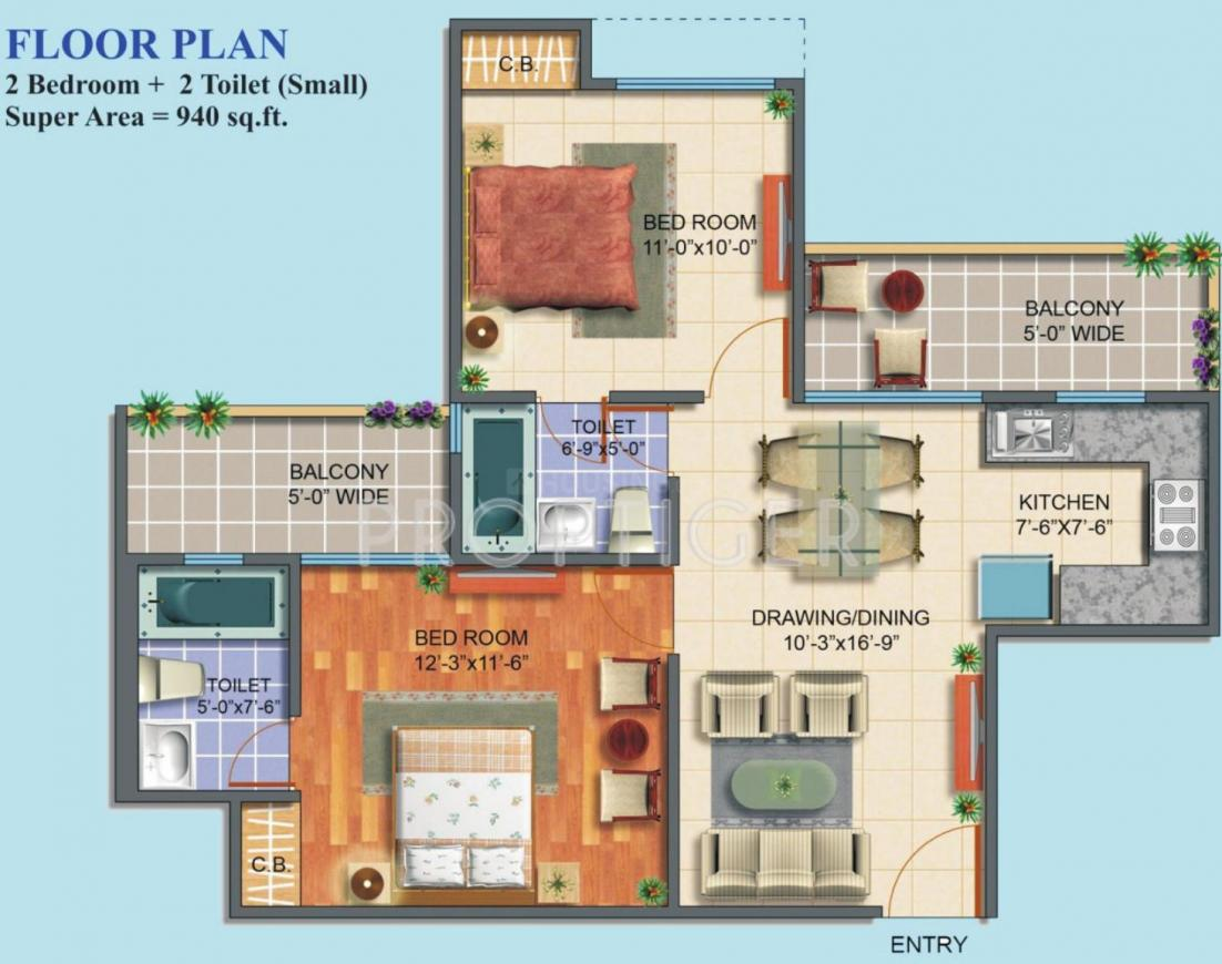 Maxblis White House II Floor Plan: 2 BHK Unit with Built up area of 940 sq.ft 1