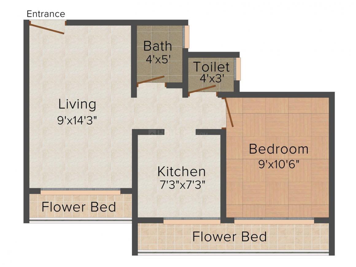 Floor Plan Image of 0 - 620 Sq.ft 1 BHK Apartment for buy in Shreeji Hillwood I