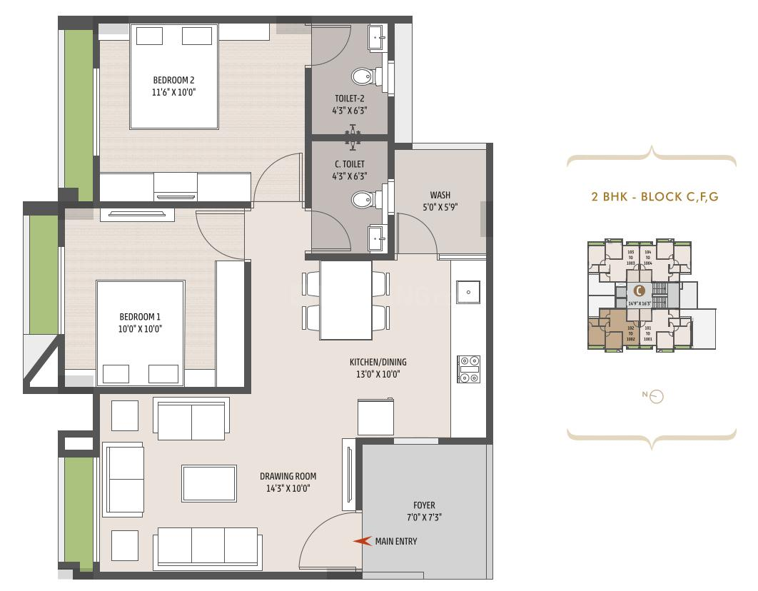 Empire Evok Floor Plan: 2 BHK Unit with Built up area of 131 sq.yd 1