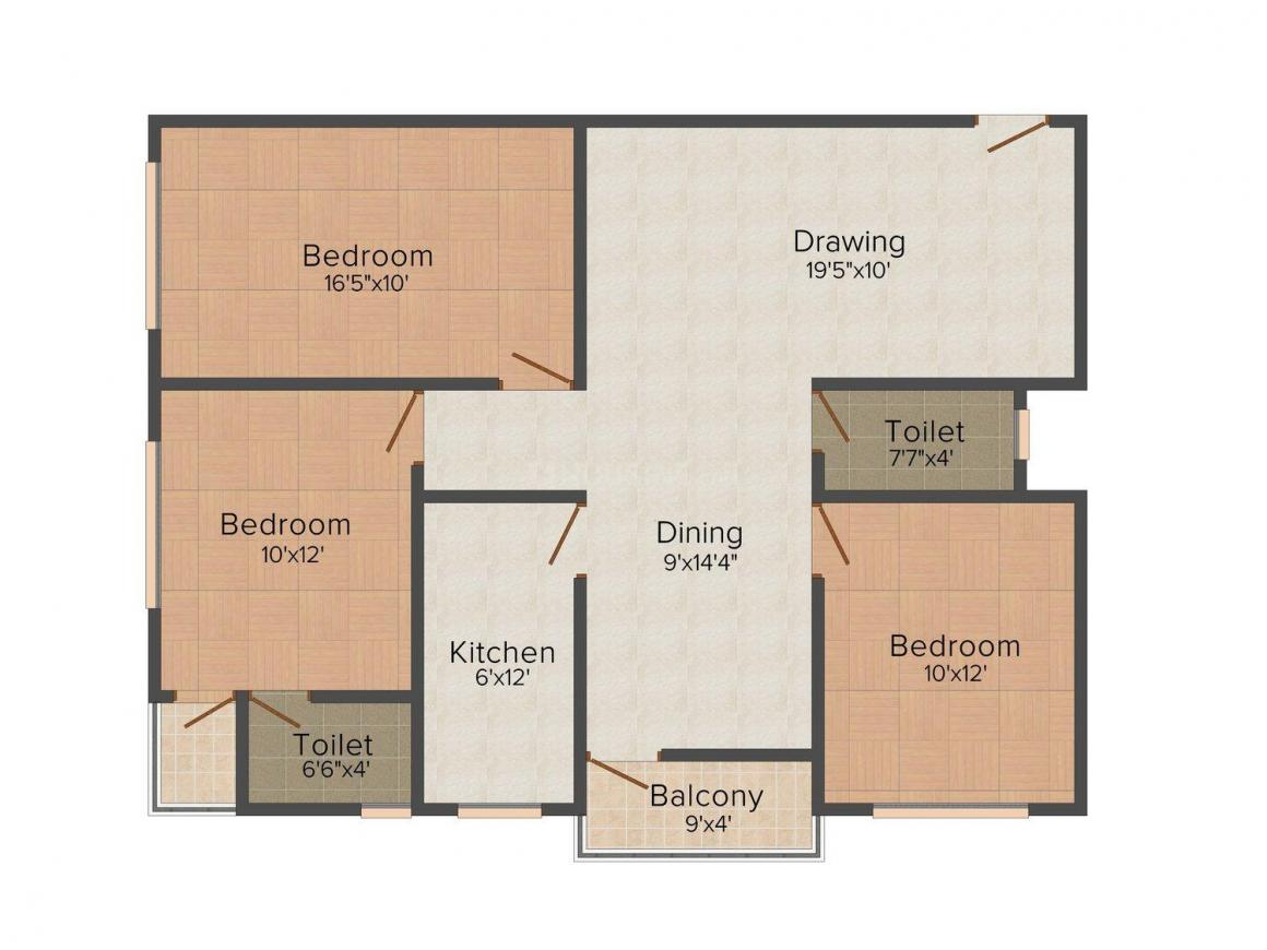 Agrani IOB Nagar Floor Plan: 3 BHK Unit with Built up area of 1300 sq.ft 1