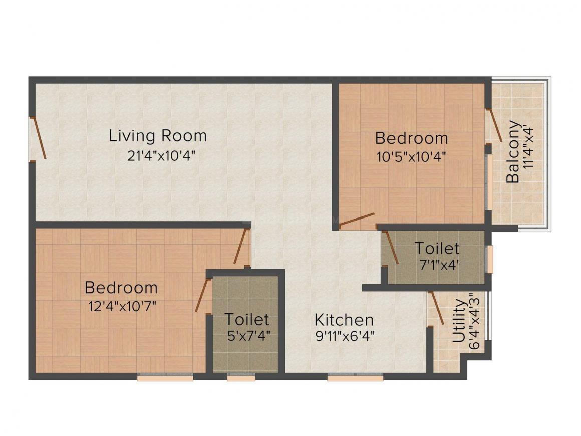 Floor Plan Image of 680.0 - 1030.0 Sq.ft 1 BHK Apartment for buy in Bhushan Vruksh
