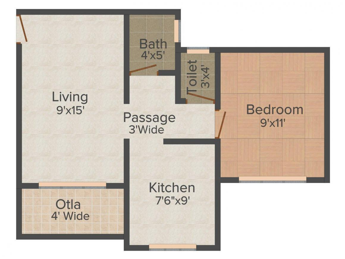 Floor Plan Image of 610 - 840 Sq.ft 1 BHK Apartment for buy in Varun Heights
