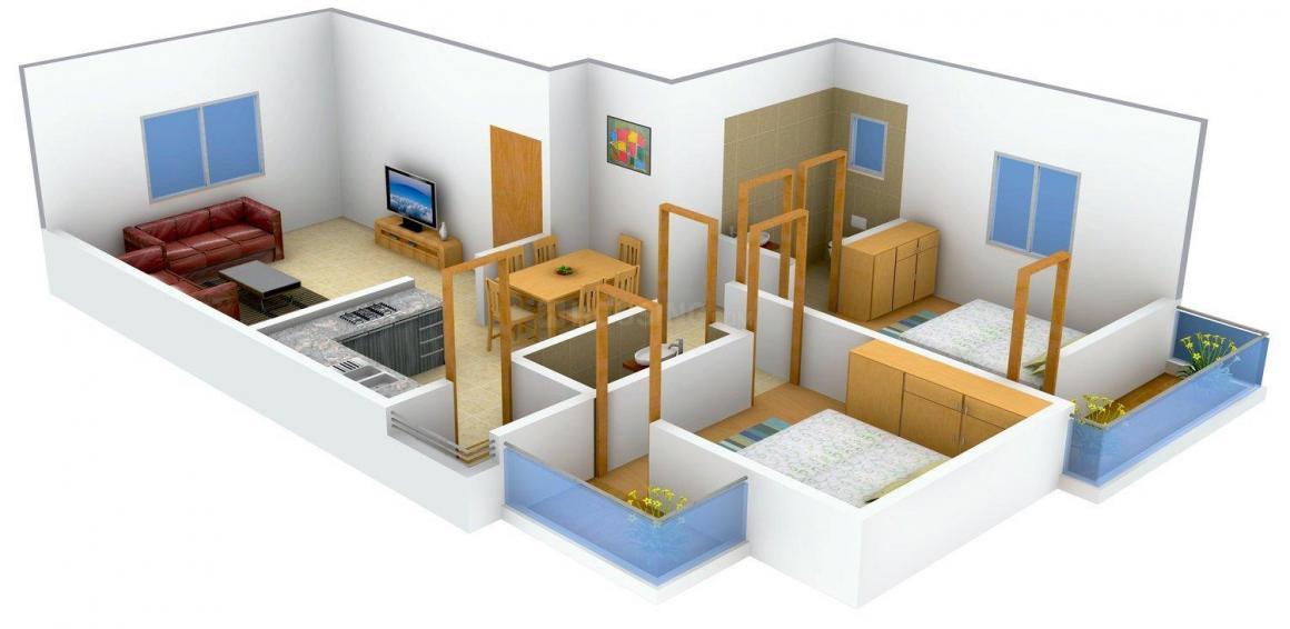 Floor Plan Image of 0 - 1000.0 Sq.ft 2 BHK Apartment for buy in JD Sharvari