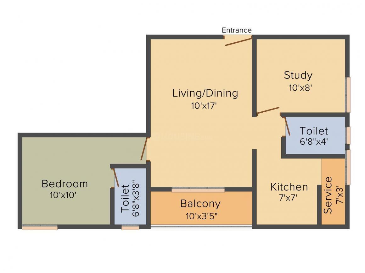 Floor Plan Image of 642.0 - 1220.0 Sq.ft 1.5 BHK Apartment for buy in Acacia Shenbagam