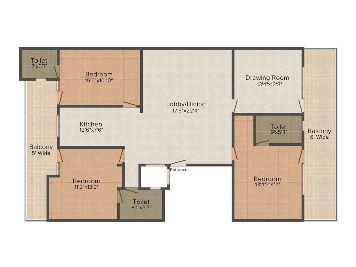 A3S Homes - 4 Floor Plan: 3 BHK Unit with Built up area of 1670 sq.ft 1