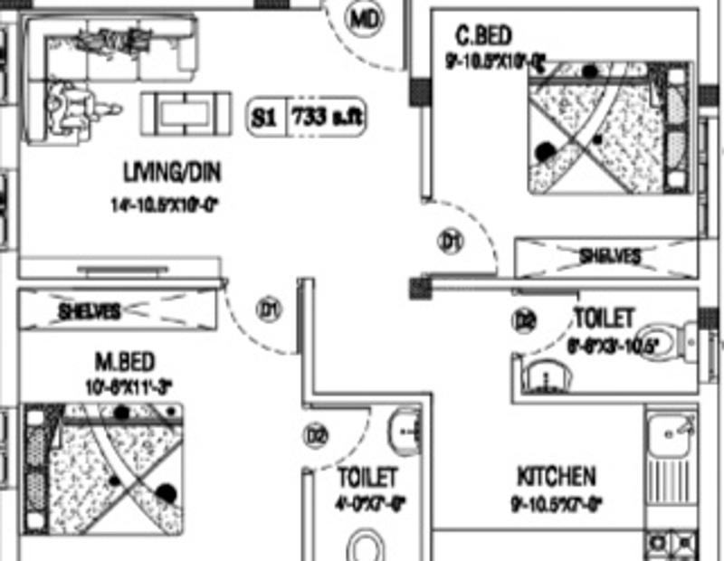 Floor Plan Image of 720.0 - 852.0 Sq.ft 2 BHK Apartment for buy in Viva Varish