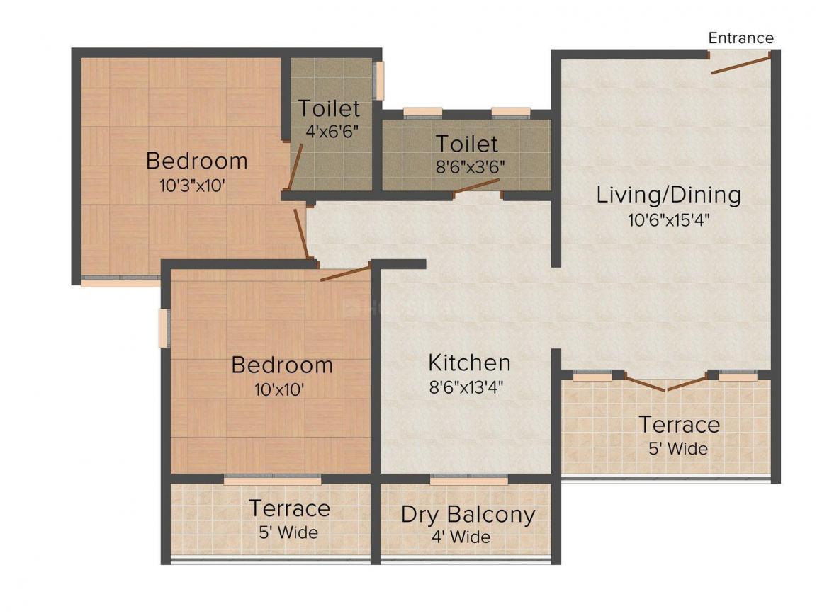 Floor Plan Image of 610.0 - 850.0 Sq.ft 1 BHK Apartment for buy in Shree Shree Hari