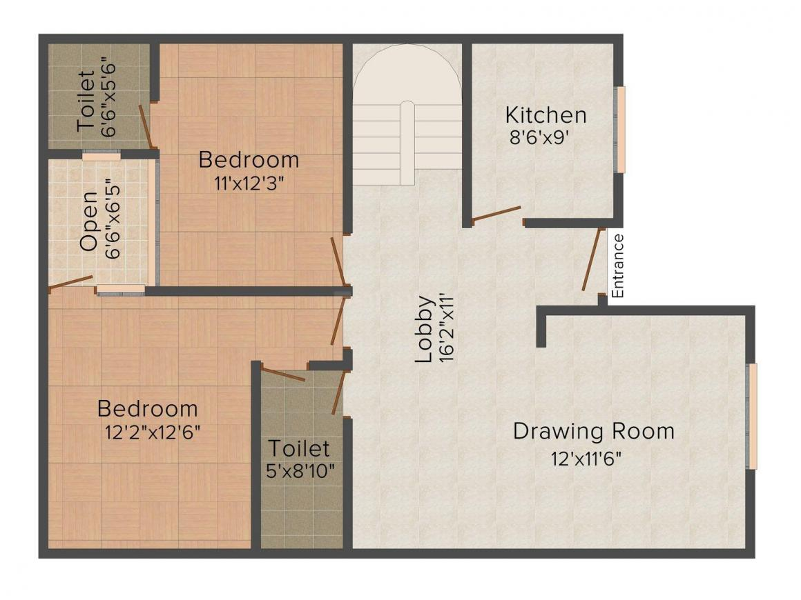 Floor Plan Image of 0 - 1900.0 Sq.ft 3 BHK Independent Floor for buy in Blue City Budget Homes 2