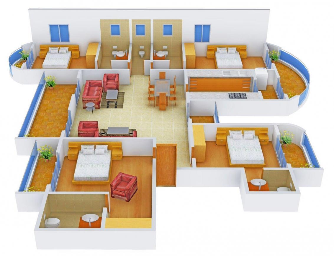 Floor Plan Image of 0 - 3200 Sq.ft 4 BHK Apartment for buy in KMR Vastu Deep