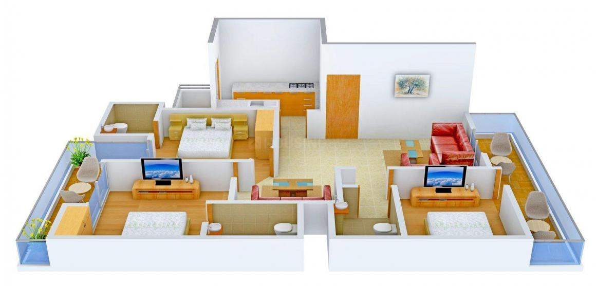Commonweal Floors 3 Floor Plan: 3 BHK Unit with Built up area of 1450 sq.ft 1