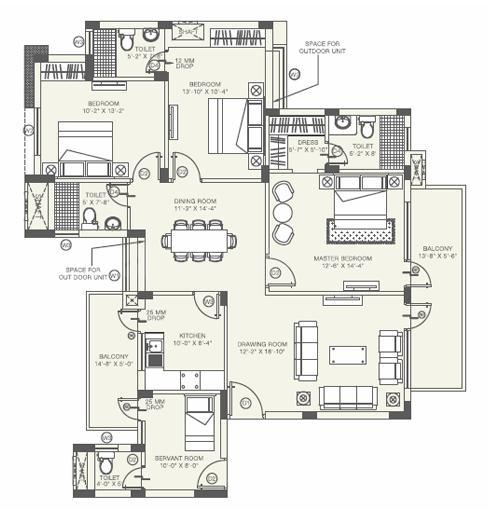Orris Aster Court Premier Floor Plan: 3 BHK Unit with Built up area of 2120 sq.ft 1