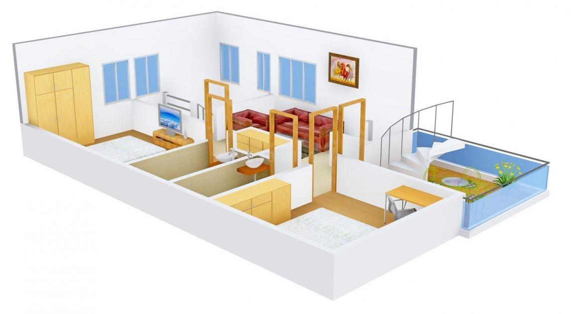 Harini Harini Mansion Floor Plan: 3 BHK Unit with Built up area of 1849 sq.ft 1