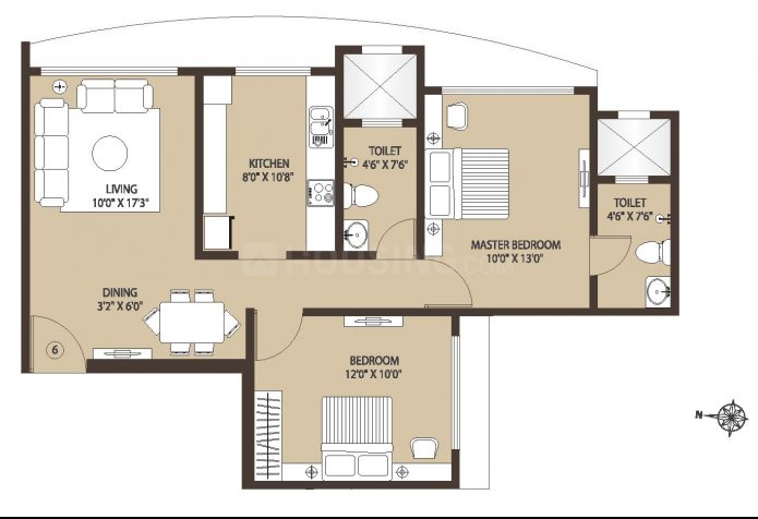 Kabra Centroid A Floor Plan: 2 BHK Unit with Built up area of 539 sq.ft 1