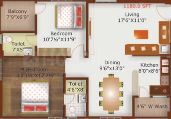 Prime Solitaire Floor Plan: 2 BHK Unit with Built up area of 1180 sq.ft 1