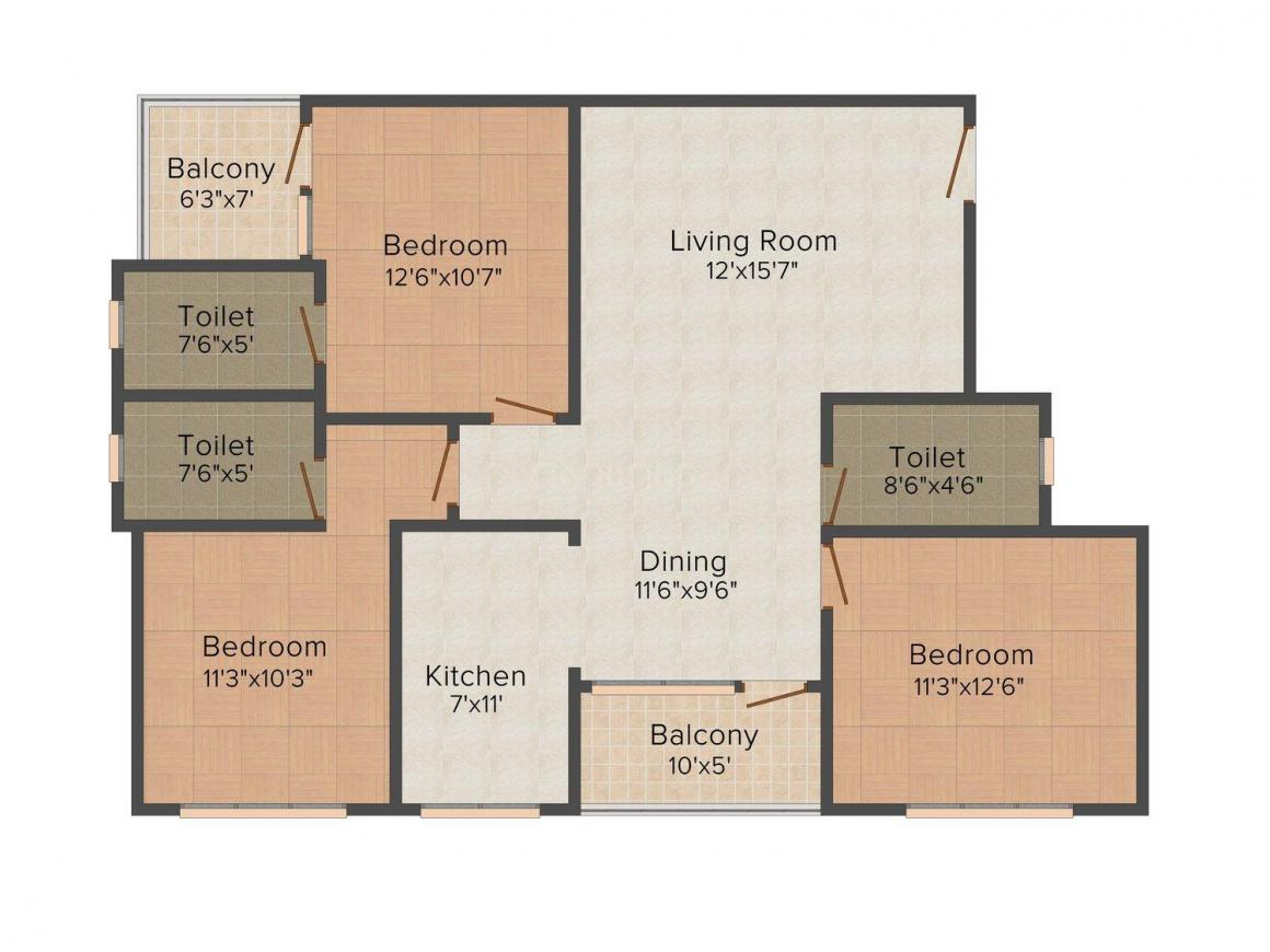 Floor Plan Image of 1469 - 1497 Sq.ft 3 BHK Apartment for buy in UDB Karol Villa