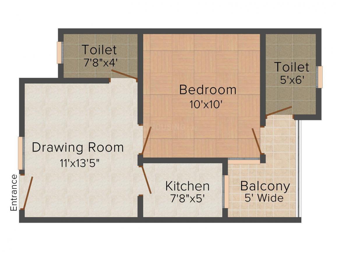 KTS Khatu Shyam Apartments Floor Plan: 1 BHK Unit with Built up area of 516 sq.ft 1