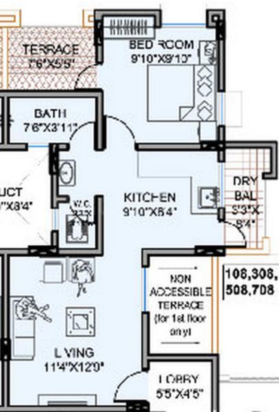 Dreamz Infra Sankalp Floor Plan: 1 BHK Unit with Built up area of 536 sq.ft 1