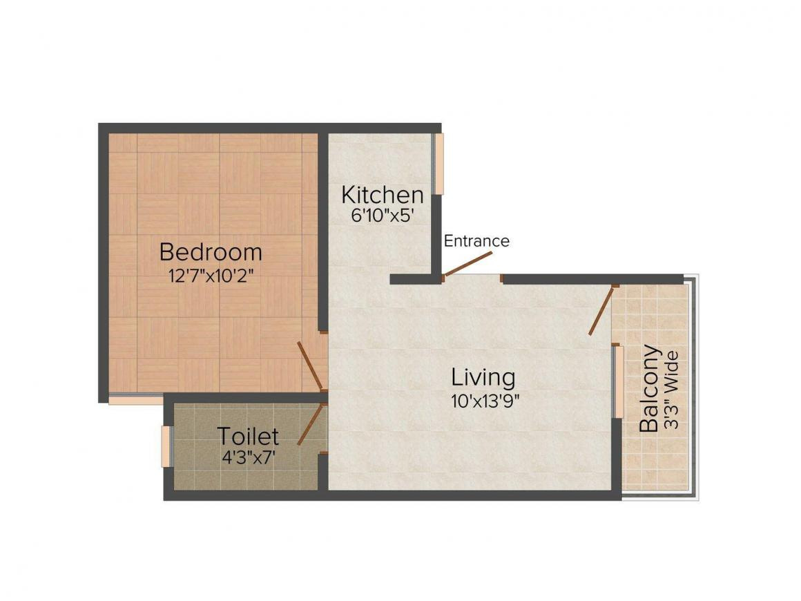 Vikas Abode Home Floor Plan: 1 BHK Unit with Built up area of 450 sq.ft 1
