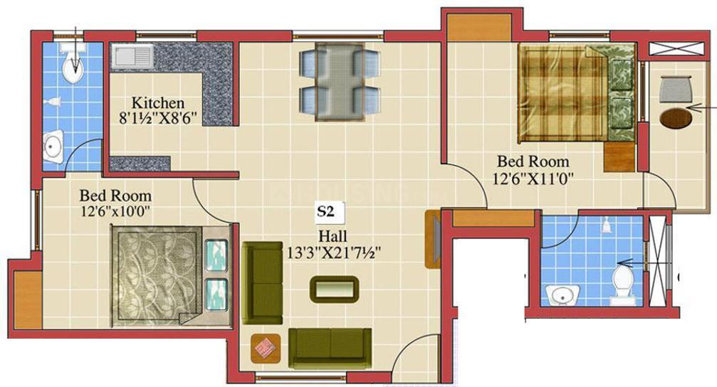 Floor Plan Image of 1051 - 1411 Sq.ft 2 BHK Apartment for buy in Sri Durga Aaba
