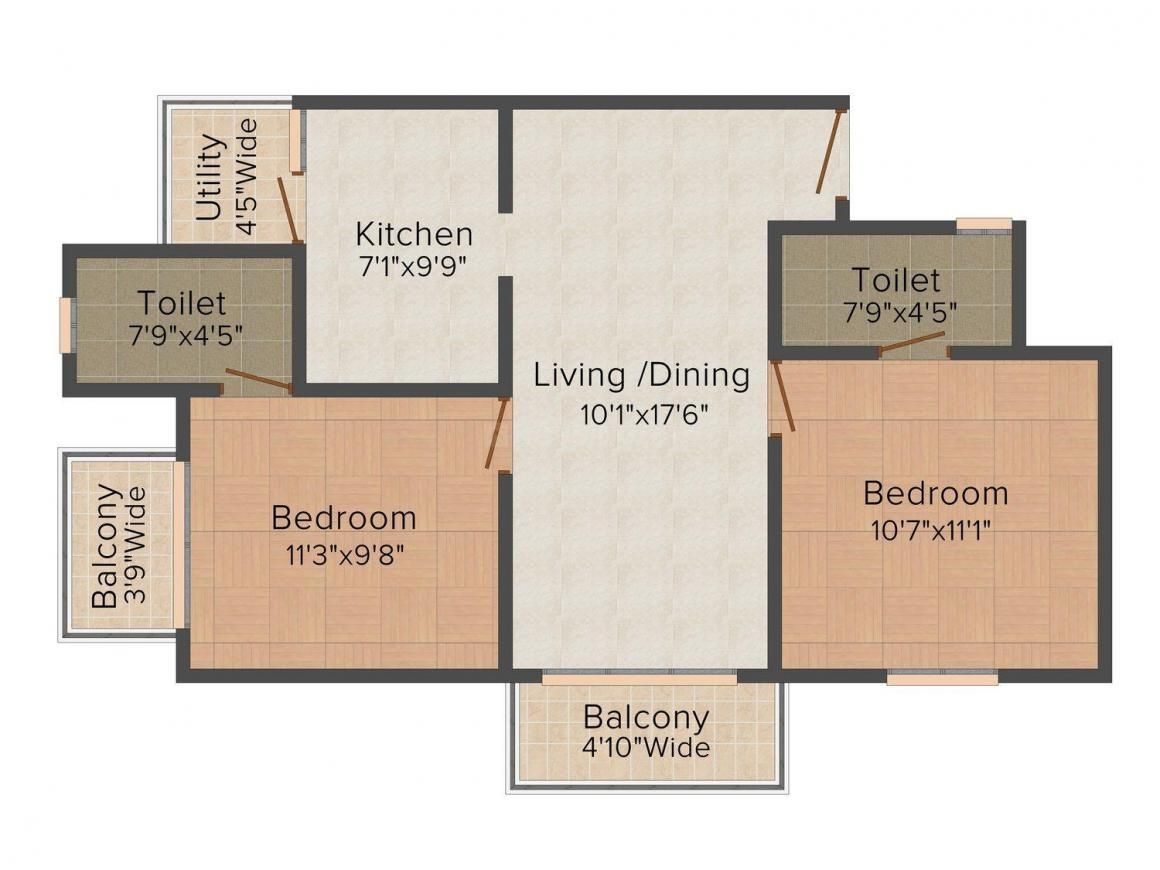 Floor Plan Image of 866.0 - 912.0 Sq.ft 2 BHK Apartment for buy in Umiya Quatro