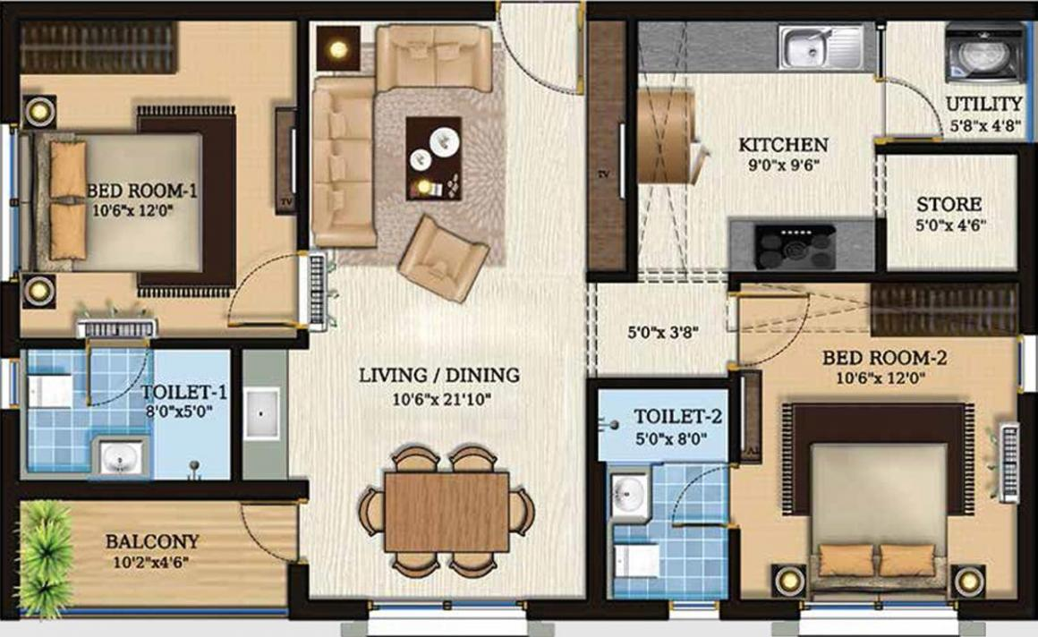 Lifestyle Param Floor Plan: 2 BHK Unit with Built up area of 1195 sq.ft 1