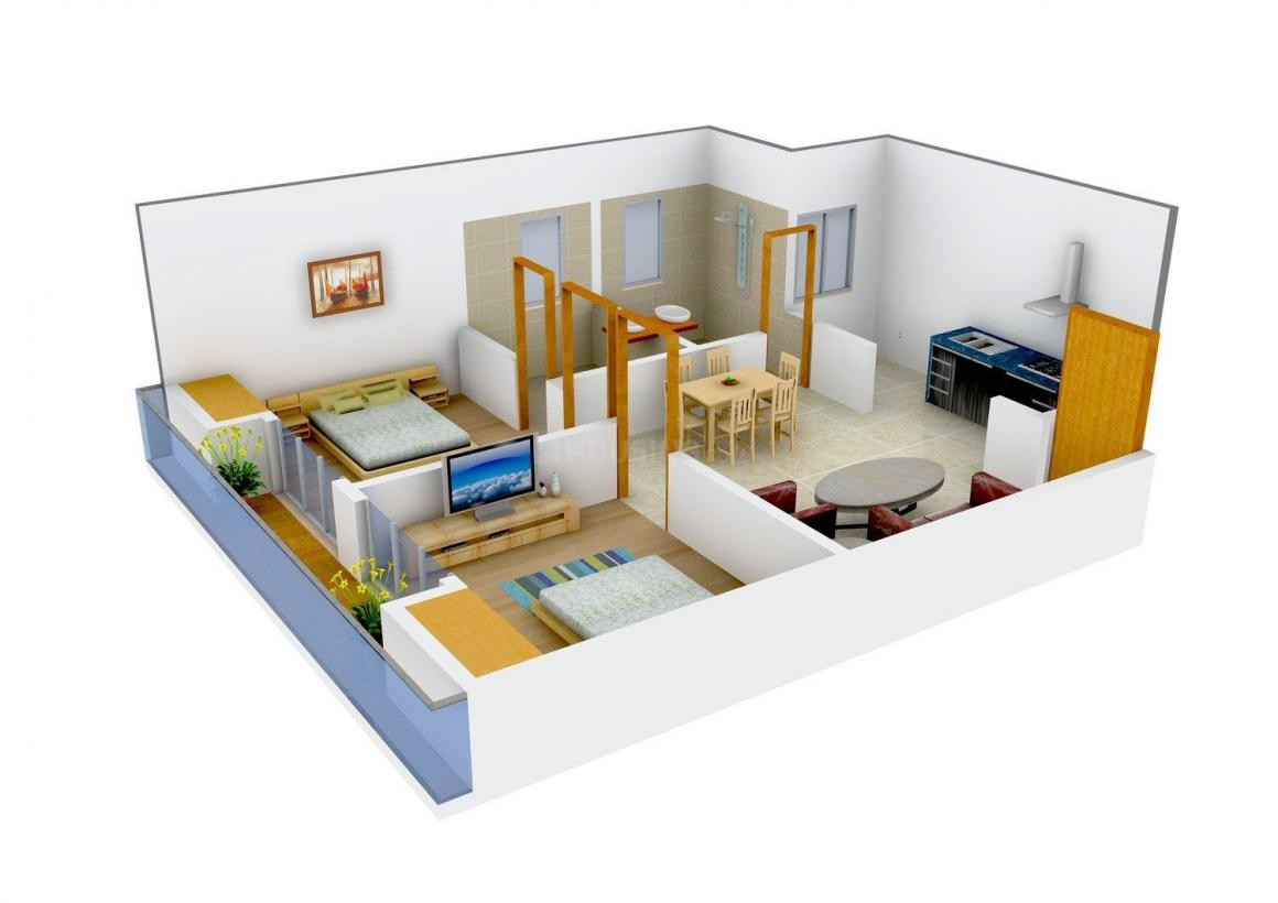 City Life Dev Residency Floor Plan: 2 BHK Unit with Built up area of 689 sq.ft 1
