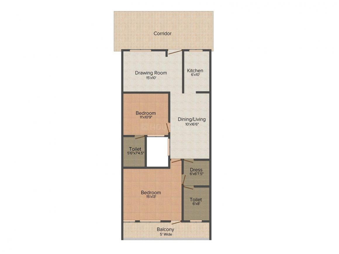 Floor Plan Image of 1100.0 - 2000.0 Sq.ft 2 BHK Apartment for buy in Shri Shyam Tower